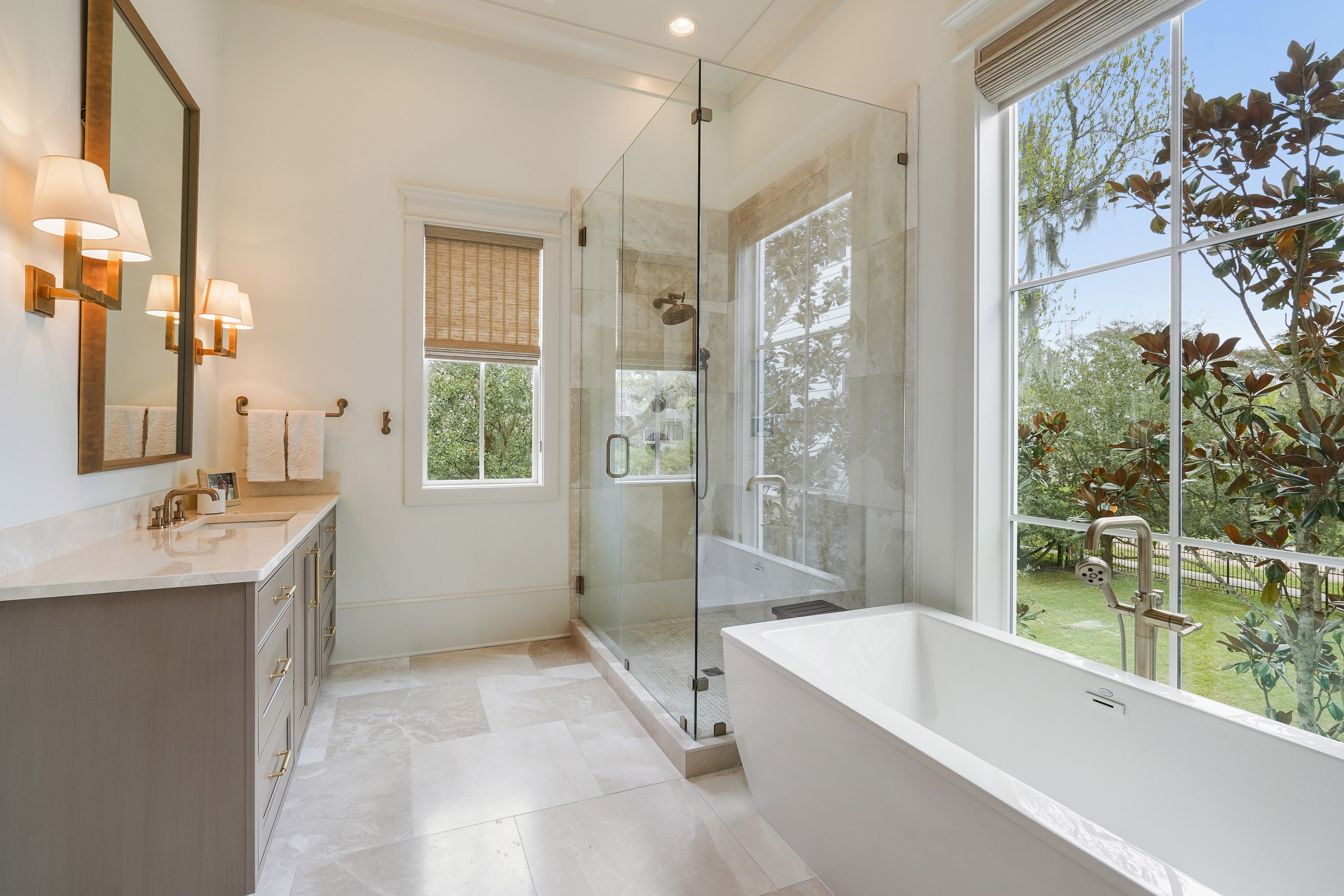 Transitional bath showing custom cabinetry